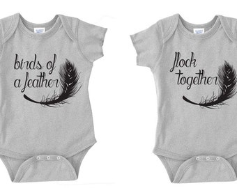 Twins Onesie Set- Birds of a Feather Flock Together
