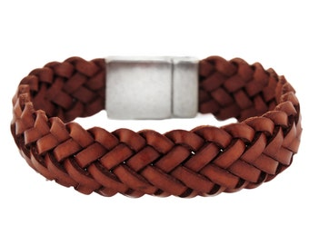 Woven leather Bracelet in Brown for Men Women Boho western chic