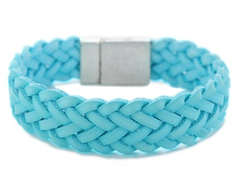 Woven leather Bracelet for Men & Women in Turquoise blue Magnetic closure