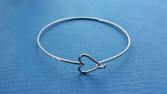 Heart Stainless Steel Bangle Bracelet, Heart Clasp - One Size Fits All Bracelet, Stacking Bracelet, Supply Jewelry Making, Metalwork