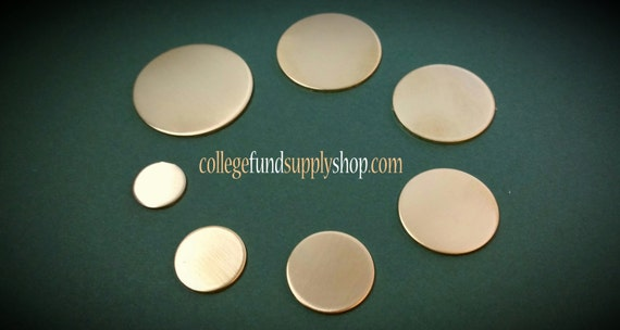 "18g, 5/8"" NUGOLD, SETS OF 3 stamping discs,  5/8"" round blank,   disc for etching, metal supply shop, jewelry supply, hand stamping"