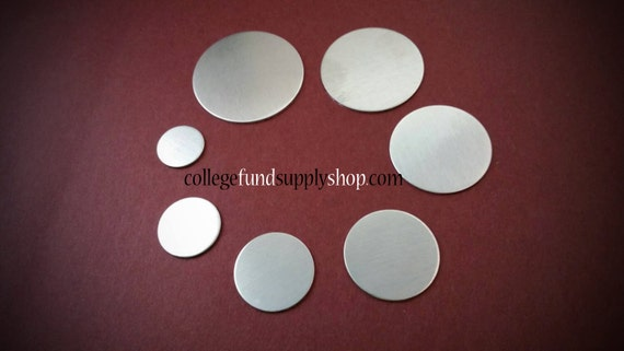 "7/8"" ALUMINUM 14 or 16g. SETS OF 3 stamping discs,  7/8"" round blank,   disc for etching, metal supply shop, jewelry supply, hand stamping"