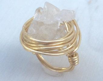 Ice Flake Quartz Cluster Ring