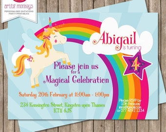 Printable Magical Rainbow Unicorn Party Invitation  |  Personalized