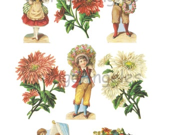 Victorian children. Paper scraps. Children and flowers. Craft paper. Instant download. Digital images.
