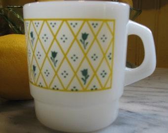 Mug has coffee Termocrisa Tulip diamond vintage 1960's. Mug,