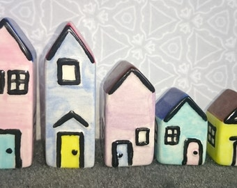 Set of five tiny houses