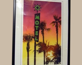 Original Painting of motel sign in sunset, motel californa