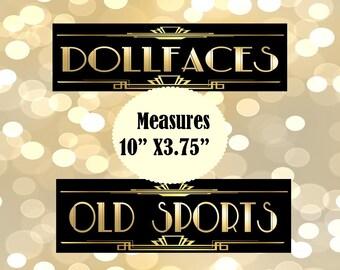 PRINTABLE Bathroom Sign,Gatsby party decoration, Roaring 20s Art deco,Wedding Sign, Wedding Decor, Dollfaces, Old Sport
