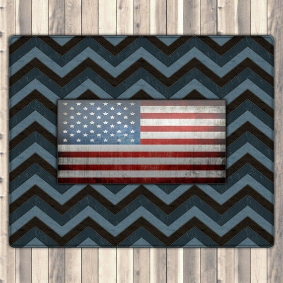Chevron Rug Navy: Navy Chevron Rug, Navy Rug, United States Rug, Country Rug