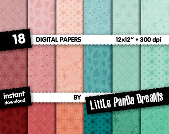 "Texture Digital Paper | Vintage texture | Scrapbook Paper Pack | Vintage style | 12x12"" | 300 dpi | Instant Download |18 Digital papers"