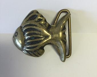 solid brass belt buckle, brass buckle, fish belt buckle, vintage brass belt buckle