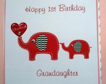 Personalised Handmade 1st Birthday Card Grandaughter Daughter Niece 2nd 3rd