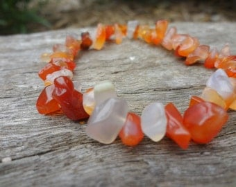 Carnelian Gemstone Chip Stretch Bracelet. Natural Stone. Sardonyx Orange Bridesmaid Jewelry by Miss Leroy