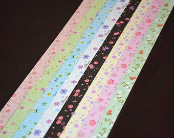 Origami Lucky Star Paper Strips Cute Floral Mixed Print DIY - Pack of 160 Strips