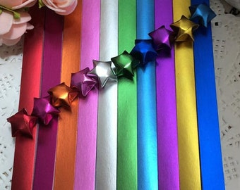 Gorgeous Jewel Tone Origami Lucky Star Paper Strips Star Folding DIY - Pack of 100 Strips
