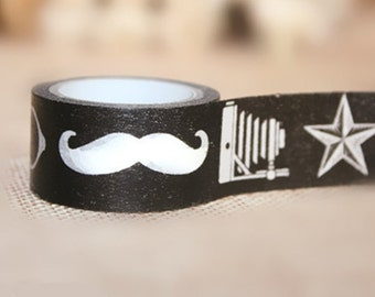 Funny Props Japanese Washi Tape Rice Paper Tape Masking Tape - 5m Star,Glasses,Mustache