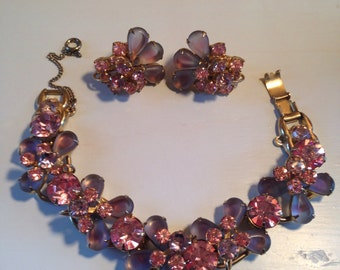Juliana D&E Frosted Lavender and Pink Rhinestone Bracelet and Earring Set