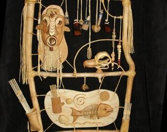 Mask and Bones – Framed Sculpture