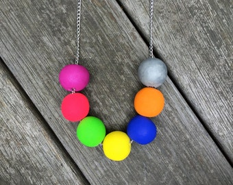 TIOMAN polymer clay bright beaded necklace