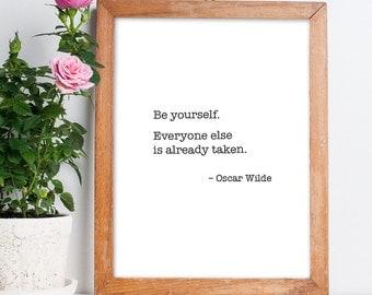Art Digital Print Poster 'Oscar Wilde' Motivational Print, Inspirational Famous Quotes Wall Art, Home Decor *Digital Download DIY PRINT*