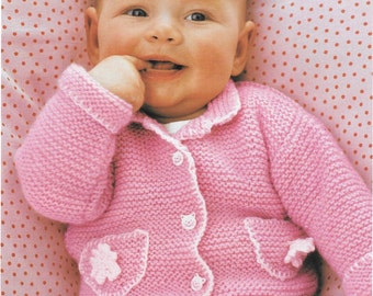 Garter Stitch Baby Cardigan, Hat and Bootees, PDF Instant Download, 0 - 18 months