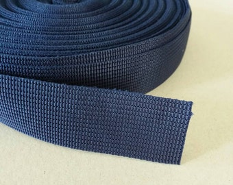 5 Yards, 1 inch (2.5 cm.), Polypropylene Webbing, Navy Blue, Key Fobs, Bag Straps, Purses Straps, Belts, Tote Bag Handle.