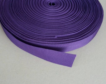 5 Yards, 1 inch (2.5 cm.), Polypropylene Webbing, Purple, Key Fobs, Bag Straps, Purses Straps, Belts, Tote Bag Handle.
