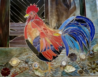 Rooster's 5 a.m. Wake Up Call (Mosaic Rooster)