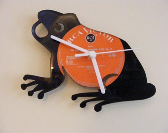 Frog wall clock Quartz movement made from upcycled vinyl LP.