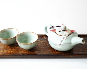 Tea Set Ceramic, Chinese Tea Service Set, Ceramic tea set, handmade teapot and tea cups, Chinese Antique Ceramics