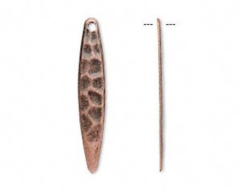 Copper charm, antiqued copper drop, hammered copper spear, 28x5mm, 8 each, D541