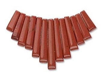 Red Jasper Fan, graduated 11x4mm to 28x4mm jasper beads, 13 bead set, D529