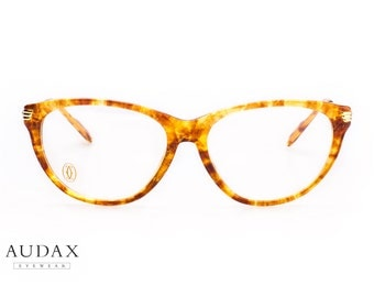 Cartier Eclat / luxury cateye eyeglasses / ladies eyeglasses / 18kt gold plated temples and translucent tortoise frames / made in France 90s