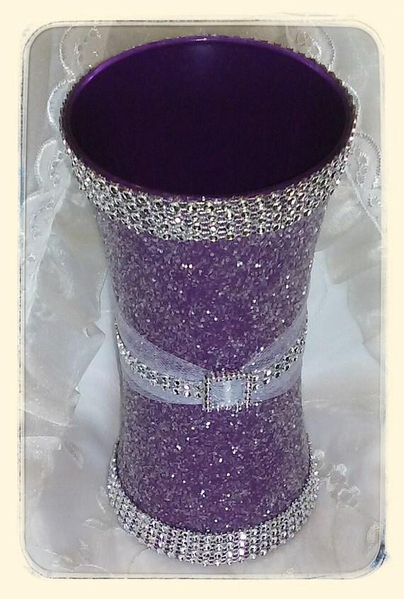 Purple Glitter Vase For Quinceanera Or Wedding Centerpieces