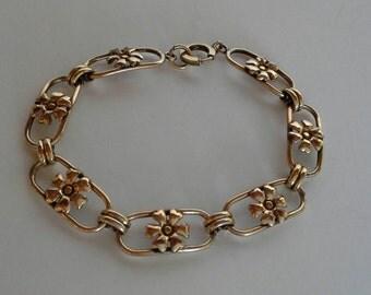 Vintage Gold filled, Flower Link Bracelet, Flower jewelry, Flower bracelet, gold link bracelet,