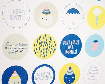30 Printable Circle Stickers (some people feels the rain, others just get wet) Gift Tags, Labels, Pinback Buttons, etc. Instant Download.
