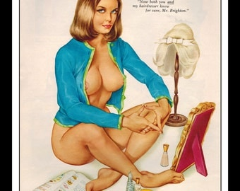 """Vargas Playboy Pinup Girl Vintage May 1964 """"Hairdresser"""" Sexy Brunette Nude Mature Wall Art Deco Print"""