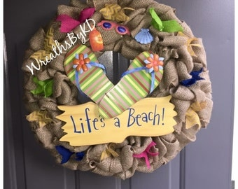 Life's a Beach Burlap Wreath