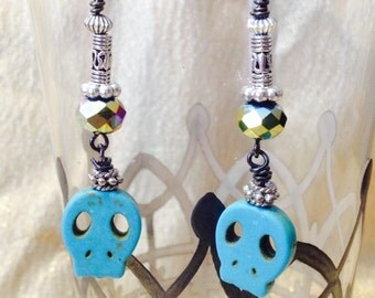Turquoise Skull Face and Silver Dangle Earrings