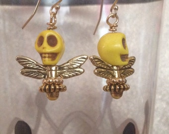 Yellow Skull Fly Earrings