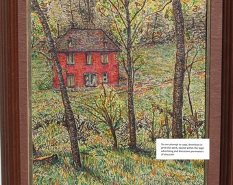 "1st Edition Print No. 1 ""Red House in the Wood"" from original colored pen drawing by Jeanne Flynn"
