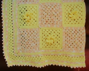 Crochet Baby Blanket, Granny Square Baby Blanket, Yellow Baby Afghan, Yellow, White and Peach Baby Blanket
