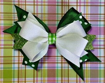 """4.5"""" Green and White Stacked Hair Bow"""
