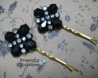 Vintage Black Rhinestones Hair Pins, Repurposed Jewelry, Recycled, Upcycled, Eco Friendly, Gift for Her  (20)