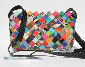 Unique handmade multicolor water resistant purse made out of recycled magazine paper