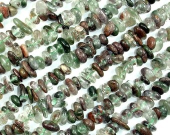 Phantom Quartz, Lodolite Quartz, Pebble Chips, 6mm - 10mm, 16 Inch, Full strand, Hole 1 mm (343005002)