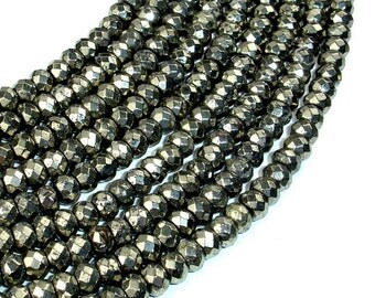Pyrite Beads, Faceted Rondelle, 4 x 6 mm, 15.5 Inch, Full strand, Approx 95 beads, Hole 1 mm (361024002)
