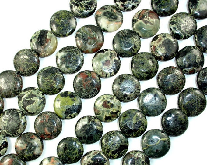 Military Jasper Beads, Coin, 14mm, 15.5 Inch, Full strand, Approx 26 beads, Hole 1 mm (316008001)