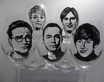 Big Bang Theory, Sheldon Cooper, Hand Painted Glasses, Painted Wine Glasses